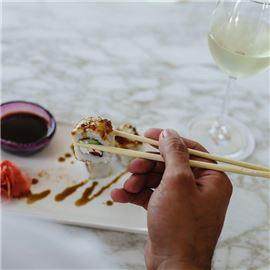 Sushi in chopstick